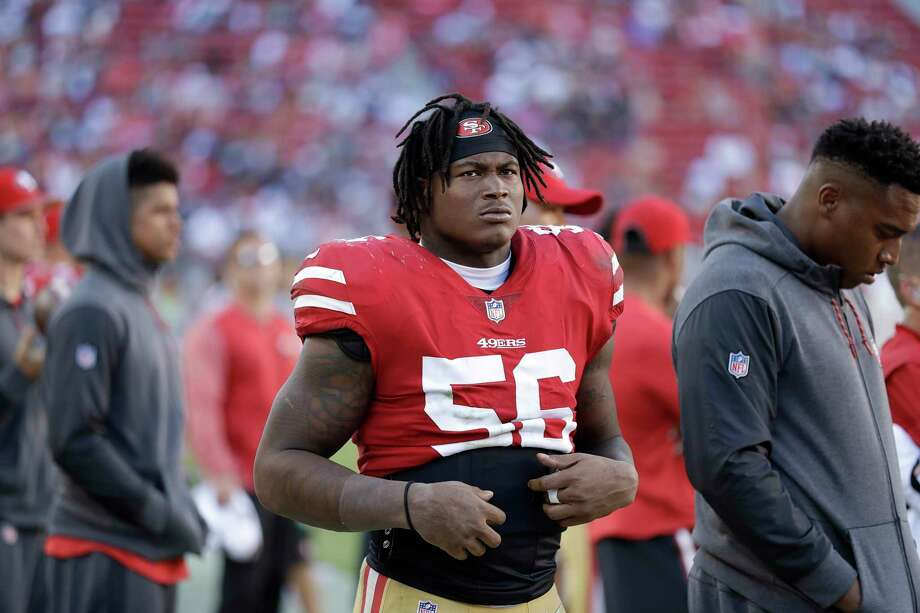 In this Oct. 22, 2017 file photo, San Francisco 49ers linebacker Reuben Foster (56) stands on the sideline during the second half of an NFL football game against the Dallas Cowboys in Santa Clara, Calif. Foster has been arrested in Mississippi and charged with second-degree possession of marijuana. AL.com says the Tuscaloosa County Sheriff's Office arrest database indicates Foster, who just finished his rookie season, was arrested Friday, Jan. 12, 2018. Photo: Marcio Jose Sanchez, AP / ONLINE_YES