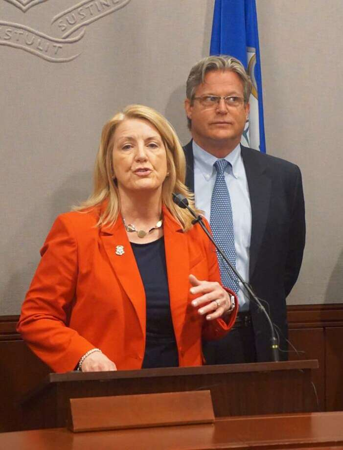 State Rep. Brenda Kupchick, R-Fairfield, and Sen. Ted Kennedy, Jr., D-Branford, supported a bill requiring insurance companies to provide more data on mental health services to the state at the Capitol in Hartford, Conn. on Thursday, April 12, 2018. Photo: Emilie Munson