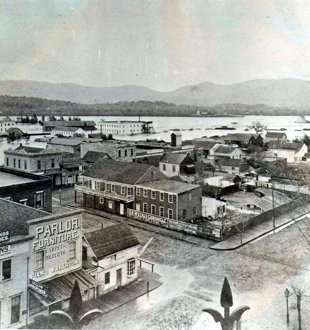 The view from the third floor of the Napa County Courthouse in 1900.