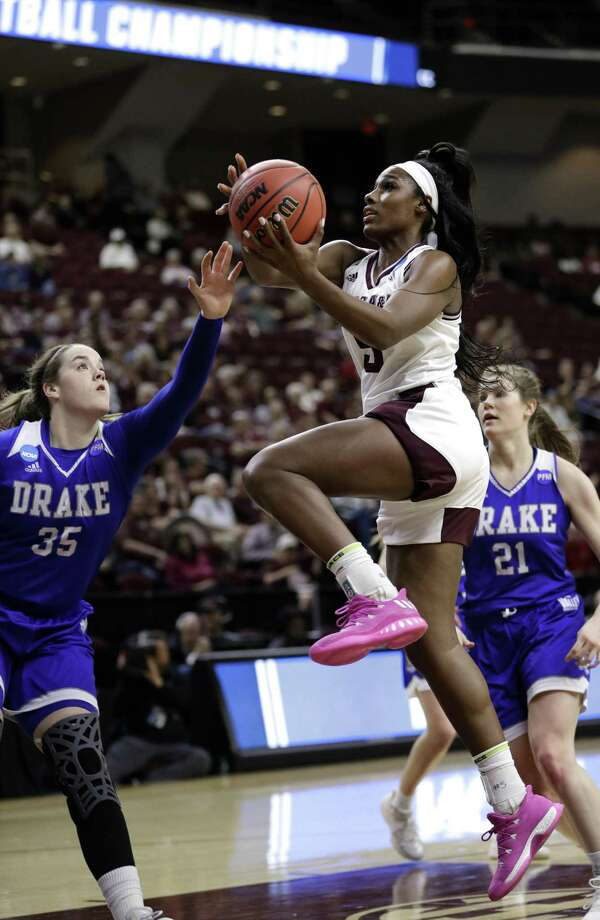 Texas A&M's Anriel Howard (5) goes up for a shot against Drake on March 16 in College Station, Texas. Photo: David J. Phillip / Associated Press / Associated Press