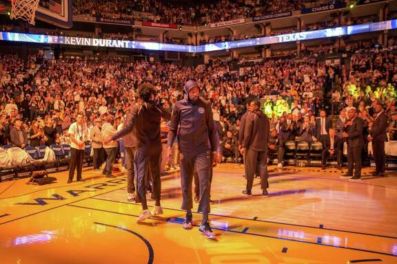 Golden State Warriors forward Kevin Durant (35) before an NBA game between the Warriors and New Orleans Pelicans at Oracle Arena on Saturday, April 7, 2018, in Oakland, Calif. The Warriors lost 126-120.