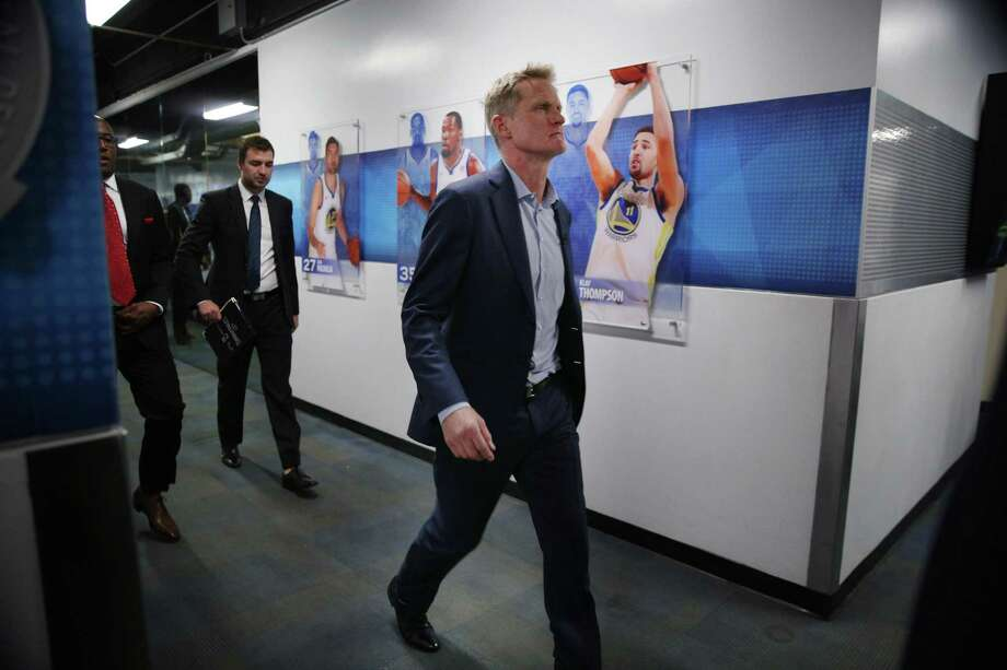 Golden State Warriors head coach Steve Kerr heads to the locker room following the NBA game between the Golden State Warriors and the Houston Rockets. The Warriors lost 122-121. Photo: Santiago Mejia / The Chronicle / ONLINE_YES