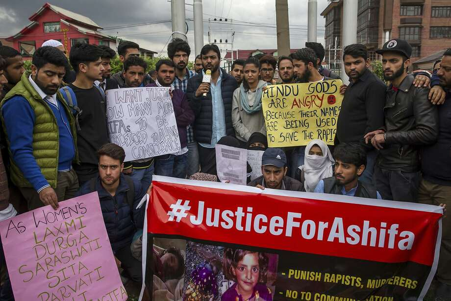 Students and others participate in a protest against the rape and murder of an 8-year-old girl in Srinigar, India. Others have taken to the streets to demand the release of the men accused. Photo: Dar Yasin / Associated Press