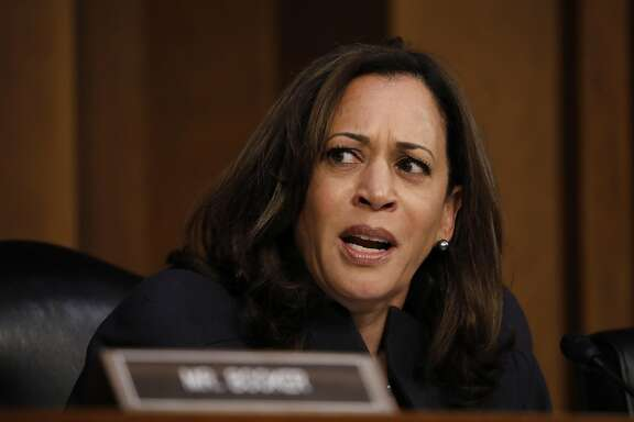 """Senator Kamala Harris, a Democrat from California, speaks during a Senate Judiciary Committee hearing entitled """"See Something, Say Something: Oversight of the Parkland Shooting and Legislative Proposals to Improve School Safety"""" on Capitol Hill in Washington, D.C., U.S., on Wednesday, March 14, 2018. Senate�Democratic leader�Chuck Schumer�says President Trump should admit he's 'afraid of the NRA' after the president backtracked on statements he made during a televised meeting endorsing gun-safety legislation. Photographer: Aaron P. Bernstein/Bloomberg"""