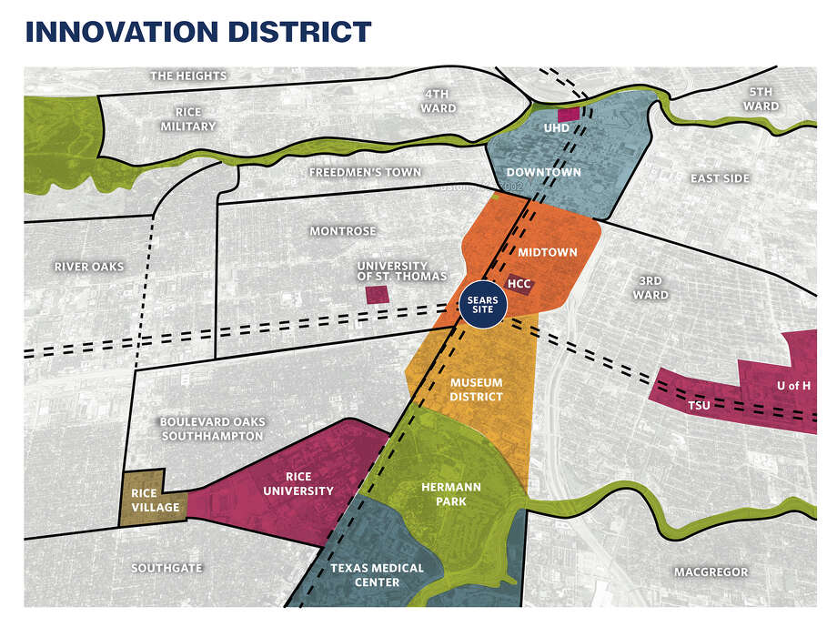 Rice University and strategic partners imagine the district connecting major institutions inside the Loop. Photo: Courtesy Of Rice University