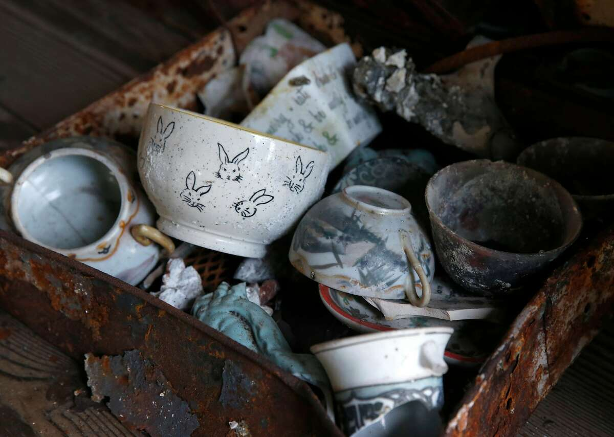 Dishware recovered from Hans Dippel�s home after the Wine Country Fires, is stored in Santa Rosa, Calif. on Wednesday, April 11, 2018. Rebuilding his family's Fountaingrove home that was destroyed in the Tubbs Fire could be delayed because of potential contamination from underground plastic pipes, melted from the intense heat from the fire, and may have leeched benzine into the soil and water supply.