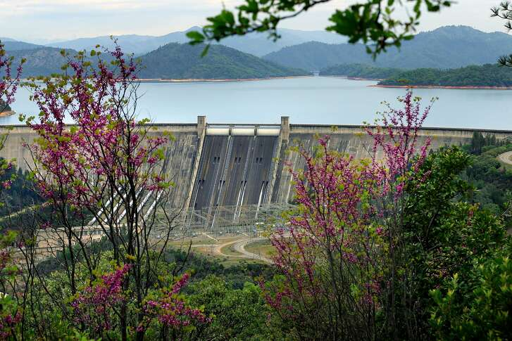 Shasta Dam seen from a scenic outlook rom a scenic outlook on Wed. April. 4, 2018, in Shasta Lake, Calif.  The Trump administration and Republicans want to raise the height of the Shasta Dam.