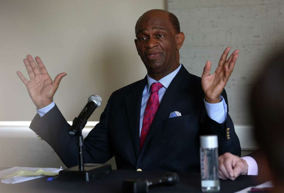 Pastor Kirbyjon H. Caldwell conducts a press conference to address the 13 counts conspiracy, wire fraud, and money laundering he is being accused of at the Magnolia Hotel Friday, March 30, 2018, in Houston. ( Godofredo A. Vasquez / Houston Chronicle )