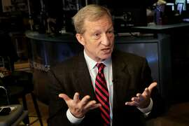Tom Steyer is interviewed on Cheddar on the floor of the New York Stock Exchange, Monday, April 2, 2018. Steyer, the billionaire hedge-fund magnate-turned-liberal activist, has committed at least $31 million this year to what is believed to be the largest youth vote organizing effort in American history. (AP Photo/Richard Drew)