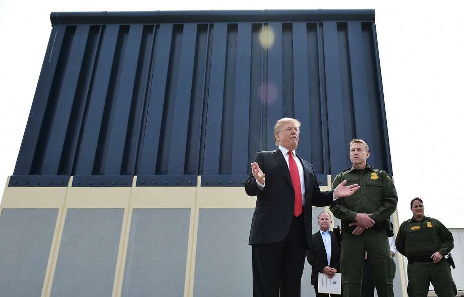 President Trump in March during an inspection of border wall prototypes in San Diego. Photo: Mandel Ngan / AFP / Getty Images