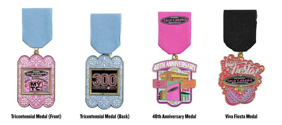 Taco Cabana's 2018 Fiesta medals pay tribute to San Antonio's Tricentennial and the company's 40th anniversary. They're free with a $20 purchase — an example of San Antonio entrepreneurship in action. Photo: Courtesy Photo