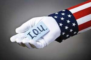Image depicts federal trade imbalance, deficit spending, i.o.u., empty treasury, unbalanced budget, bankruptcy