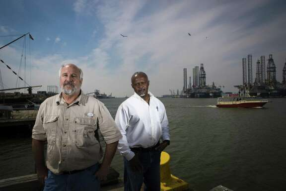 Jay Heichelheim, left, and Graylin Gant filed a lawsuit attempting to authorize a second state pilot group to guide ships to Galveston and Texas City docks. A judge has ruled against them, but the decision will likely be appealed. ( Marie D. De Jesus / Houston Chronicle )