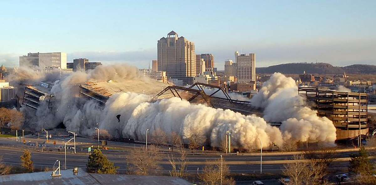Iconic New Haven: The 2007 implosion of the New Haven Veterans Memorial Coliseum. It opened in 1972 and closed in 2002.