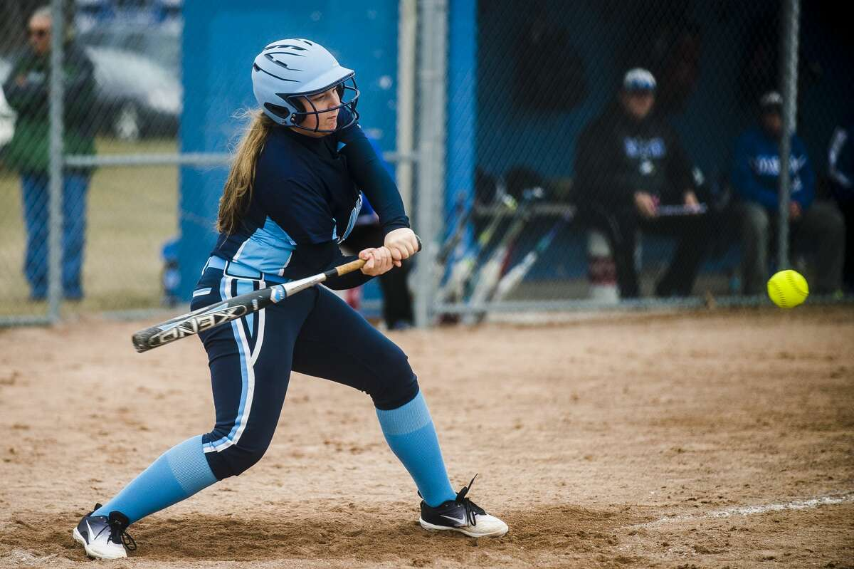 Meridian's Karley Kent swings on a pitch during the Mustangs' game against Coleman on Thursday, April 12, 2018 at Coleman High School. (Katy Kildee/kkildee@mdn.net)