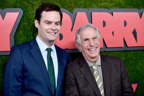 "LOS ANGELES, CA - MARCH 21:  Bill Hader (L) and Henry Winkler attend the premiere of HBO's ""Barry"" at NeueHouse Hollywood on March 21, 2018 in Los Angeles, California.  (Photo by Alberto E. Rodriguez/Getty Images)"