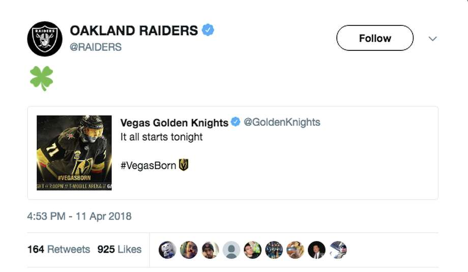 Bay Area sports fans weren't happy when the Raiders sent a tweet of encouragement to the Las Vegas Golden Knights instead of the San Jose Sharks. Photo: Twitter