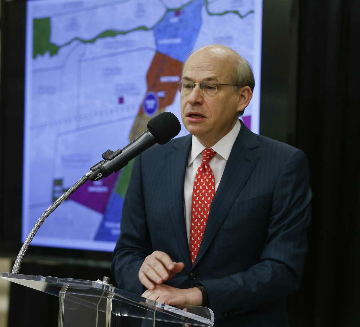 Rice University President David Leebron unveiled plans for Houston's Midtown innovation district in a news conference at the historic Sears building Thursday, April 12, 2018, in Houston. ( Steve Gonzales / Houston Chronicle )