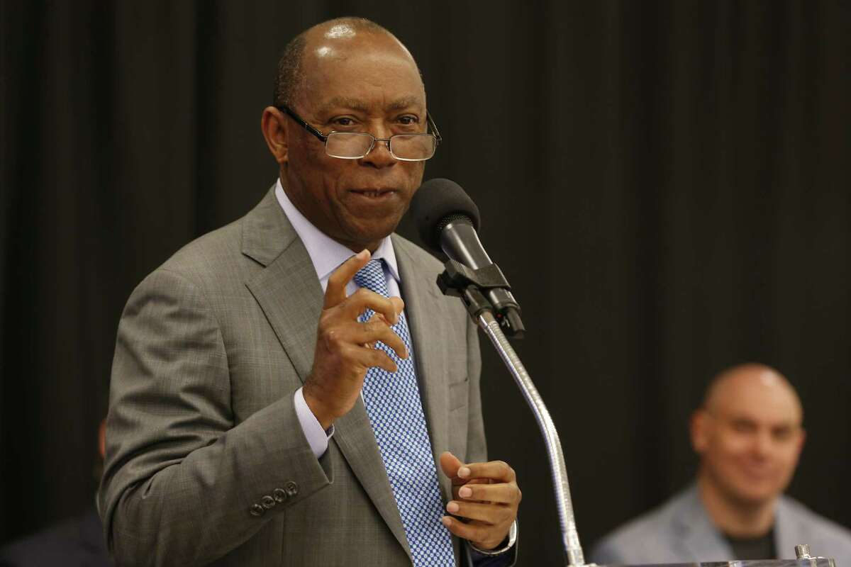 Houston Mayor Sylvester Turner unveiled plans for Houston's Midtown innovation district in a news conference at the historic Sears building Thursday, April 12, 2018, in Houston. ( Steve Gonzales / Houston Chronicle )
