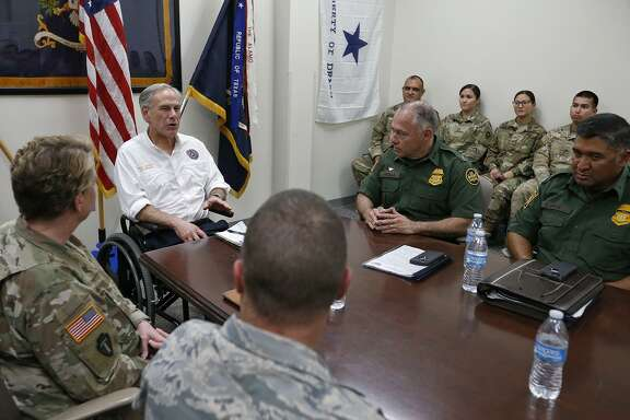 Texas Gov. Greg Abbott meets with members of the Texas Army National Guard and Border Patrol at the Sergeant Tomas Garces Texas Army National Guard Armory Thursday April 12, 2018 in  Weslaco, Tx.