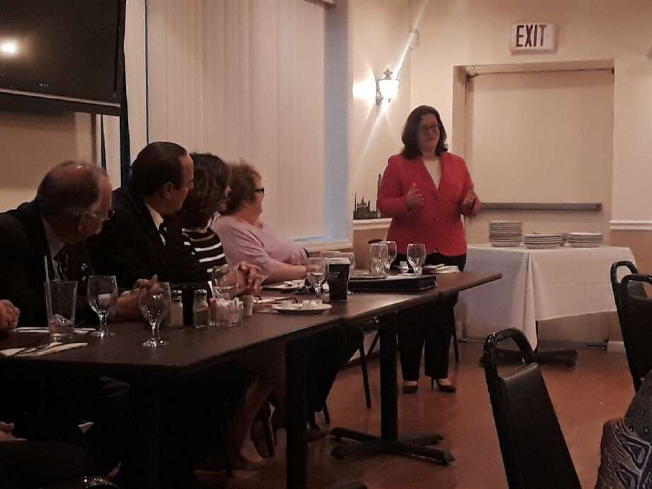 East Greenbush Town Justice Mary Pat Donnelly speaks to Rensselaer County Democratic Committee members. Photo: Rensselaer County Democratic Committee Submitted Photo