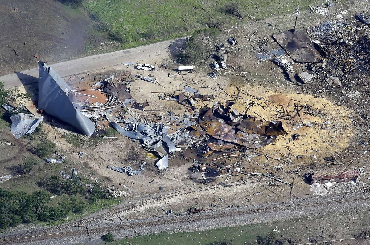 West Fertilizer Plant explosion This aerial photo shows the remains of a fertilizer plant destroyed by an explosion in West, Texas, on Thursday, April 18, 2013. The massive blast killed as many as 15 people and injured more than 160.