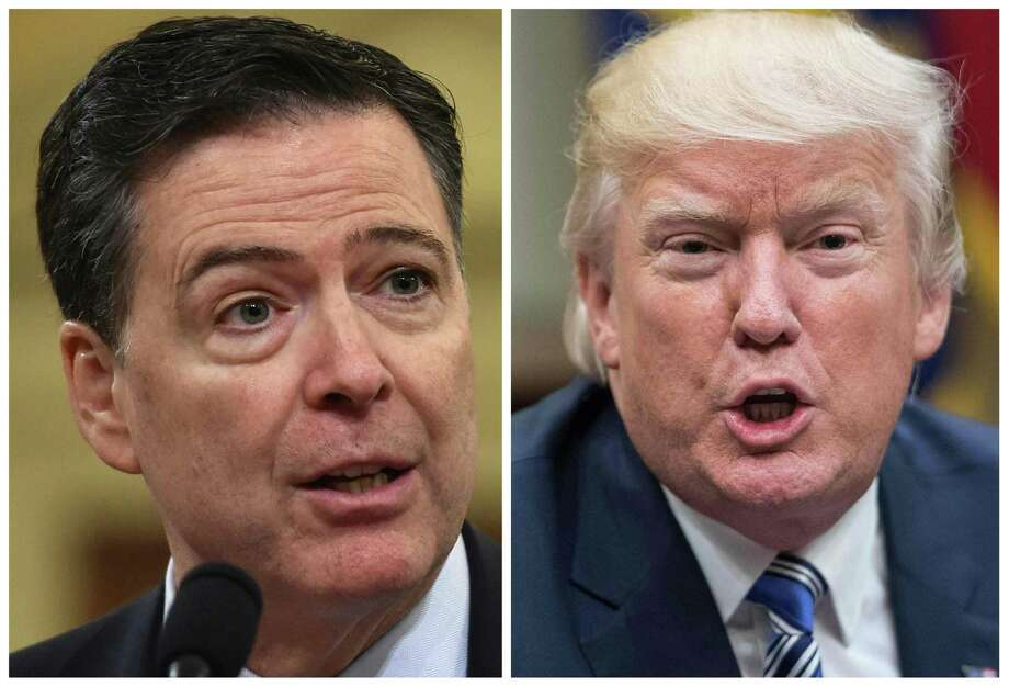 """(FILES) These two file photos show then FBI Director James Comey (L) in Washington, DC, on March 20, 2017; and US President Donald Trump in Washington, DC, on June 6, 2017.  Former FBI director James Comey says in a new book that President Donald Trump reminded him of a mafia boss who demanded absolute loyalty, saw the entire world against him, and lied about everything. According to excerpts of the book leaked by US media on Thursday, April 12, 2018, Trump was also obsessed with the alleged existence of a video in which Russian prostitutes said to be hired by Trump urinated on the bed in a Moscow hotel room. In the book to be released officially next Tuesday, April 17, 2018, Comey, whom Trump fired in May 2017, says the US president lives in """"a cocoon of alternative reality"""" that he tried to pull others around him into, according to The Washington Post.  / AFP PHOTO / NICHOLAS KAMM AND Nicholas KammNICHOLAS KAMM/AFP/Getty Images Photo: NICHOLAS KAMM / AFP or licensors"""
