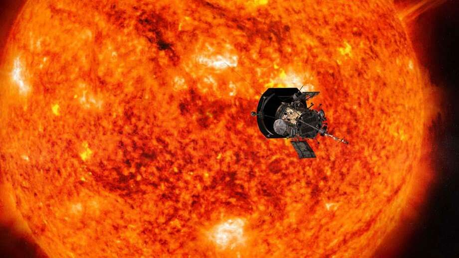 This illustration shows the Parker Solar Probe spacecraft approaching the sun. As part of the mission, the space agency will send a microchip loaded with people's names. Photo: Illustration Courtesy Of Johns Hopkins University Applied Physics Laboratory