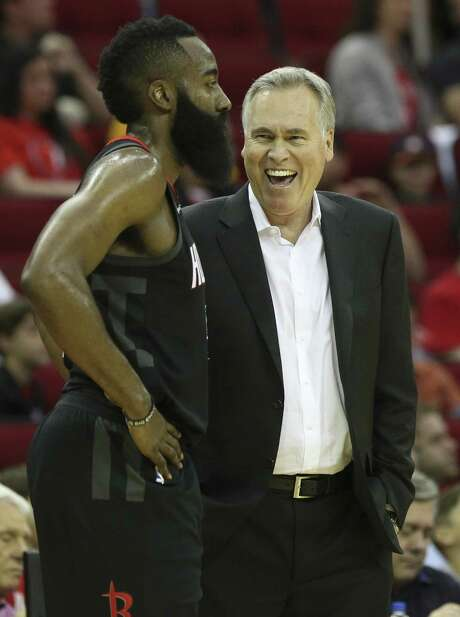 Rockets coach Mike D'Antoni and James Harden, left, have shared a lot of good times entering playoffs. Photo: Yi-Chin Lee / Houston Chronicle / © 2018 Houston Chronicle