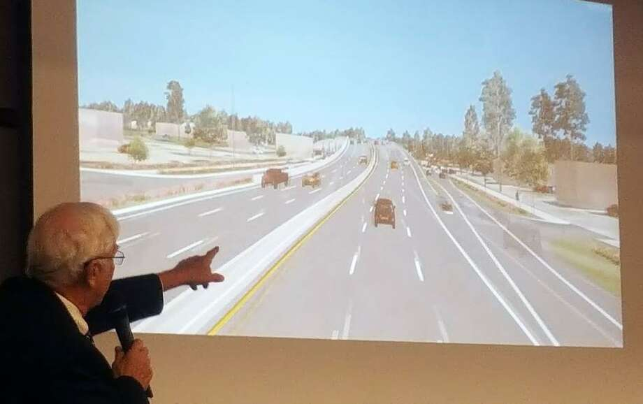 TIRZ10 chairman, Stan Sarman, shows a simulation of how Northpark Drive may look after the first phase of the Northpark Drive expansion project occurs. Photo: Melanie Feuk / Melanie Feuk