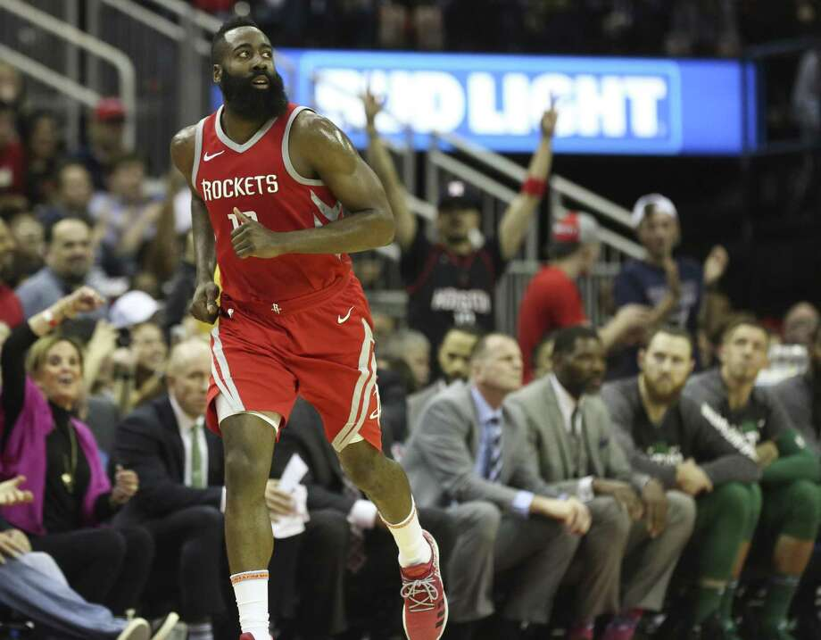 Houston Rockets fans cheer for James Harden (13) as he scored a three-pointer during the second quarter of a NBA game against the Boston Celtics at the Toyota Center on Saturday, March 3, 2018, in Houston. ( Yi-Chin Lee / Houston Chronicle ) Photo: Yi-Chin Lee, Staff / Houston Chronicle / © 2018 Houston Chronicle