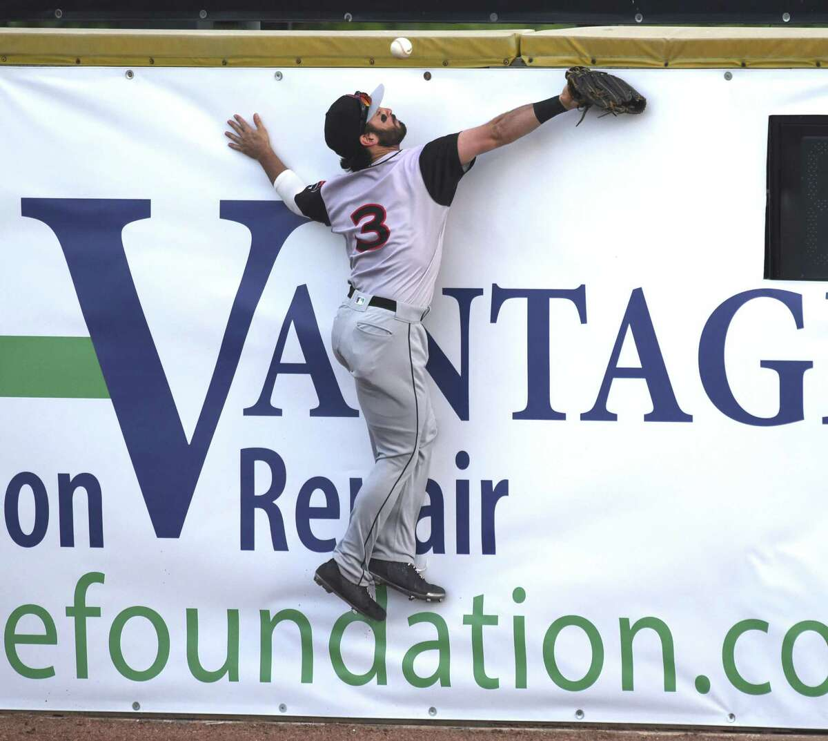 Travelers right fielder Beau Amaral is unable to make a play on an inside the park home run by the Missions' Josh Naylor