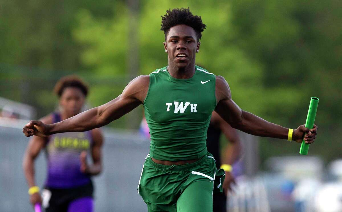 The Woodlands finished first in the boys 4 x 100 meter relay during the District 12-6A high school track meet at College Park High School, Thursday, April 12, 2018, in The Woodlands.