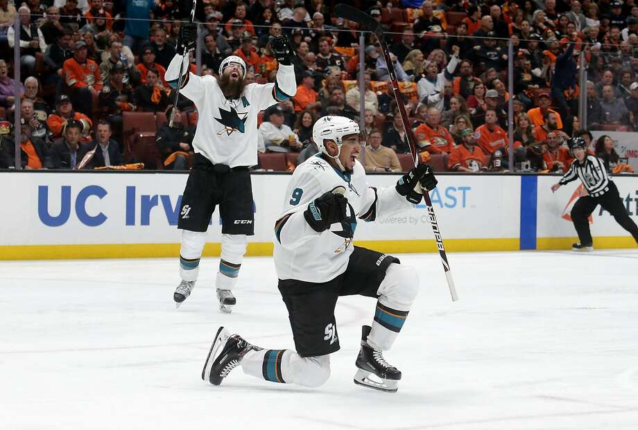 Sharks wing Evander Kane (9) celebrates after scoring in the second period to give San Jose a 1-0 lead over the Ducks. Photo: Jeff Gross / Getty Images