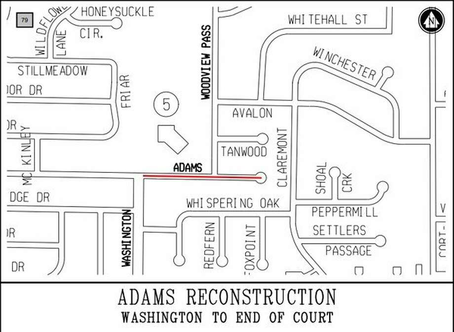 Construction on Adams Drive from Washington Street to the end of the court, and on Woodview Pass from Adams Drive to Scenic Drive was moved up to the 2018 construction season.