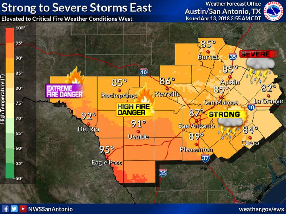 A potentially stormy Friday evening could bring hail to the San Antonio area. Photo: NWS