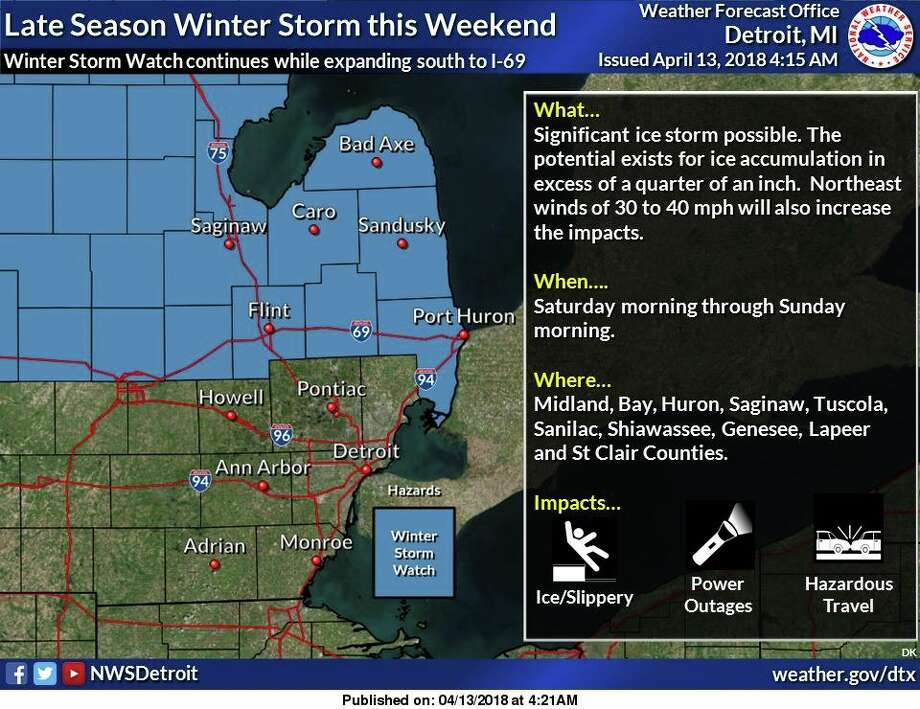A Winter Storm Watch remains in effect but has been expanded southward to include the counties along and north of I-69. A significant ice storm is possible Saturday morning through Sunday morning, with the potential existing for ice accumulation in excess of a quarter of an inch. Northeast winds of 30 to 40 mph are also expected during the event which will potentially magnify the icing impacts to trees. Photo: National Weather Service Detroit/Pontiac