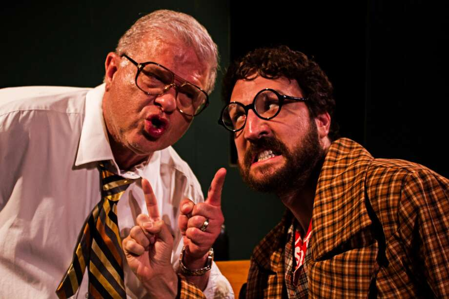 "Larry Fletcher, left, and Dana Colon perform in Pasadena Little Theatre's production of ""Accidental Death of an Anarchist."""