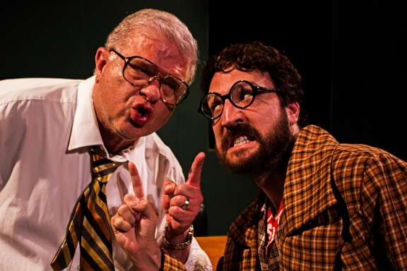 """Larry Fletcher, left, and Dana Colon perform in Pasadena Little Theatre's production of """"Accidental Death of an Anarchist."""""""