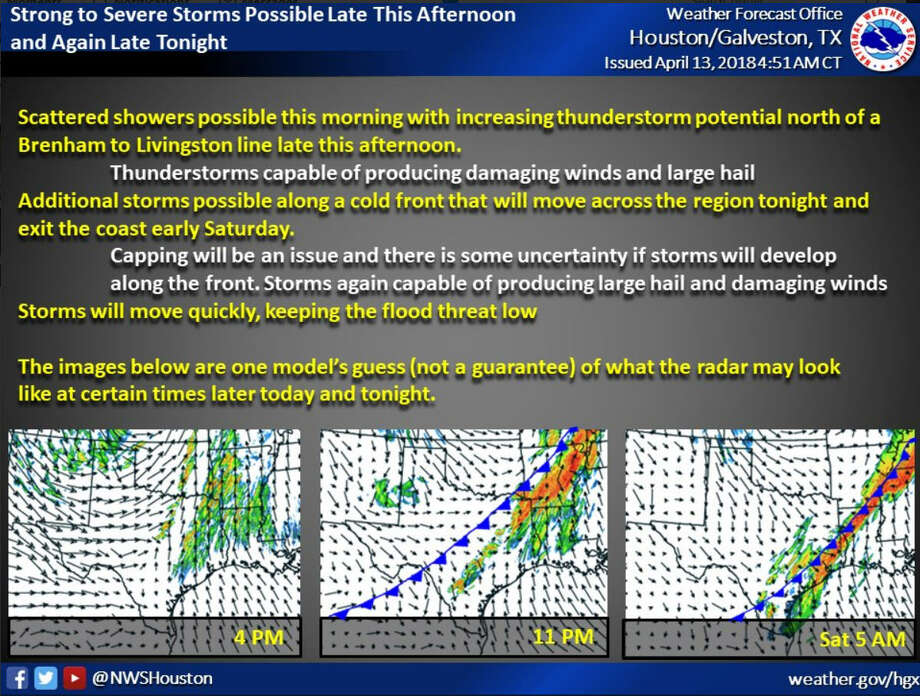 Houston is projected to get hit with scattered storms and rain on April 13 and 14, 2018, according to the National Weather Service. Photo: National Weather Service
