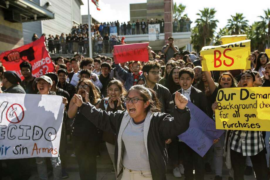 "Chanting ""no more guns,"" Ingrid Lopez rallies her fellow students during the National School Walkout for Gun Control on March 14 in Los Angeles. A reader says that, while he admires these students, he also thinks they are part of the problem. Photo: Marcus Yam /TNS / Los Angeles Times"