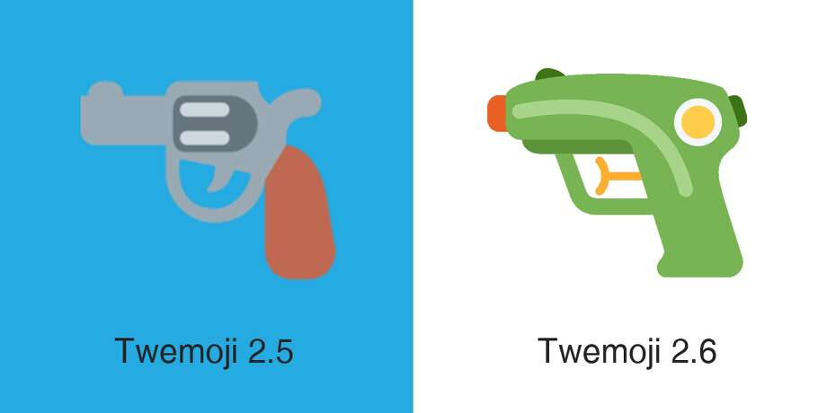 Twitter's pistol emoji is becoming a squirt gun, like Apple's and Samsungs rendering. Photo: Emojipedia