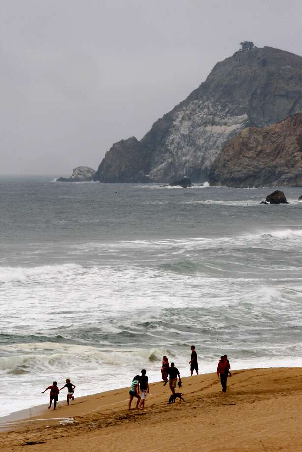 A minivan drove off a cliff Friday morning near Montara State Beach, officials said. The man was rescued and suffered non-life-threatening injuries. Photo: Liz Hafalia / The Chronicle