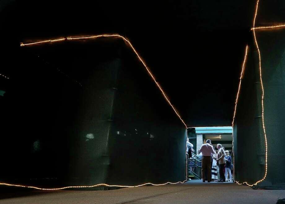 Lighted tunnels provide direction under center court. Photo: Karen Warren / © 2018 Houston Chronicle