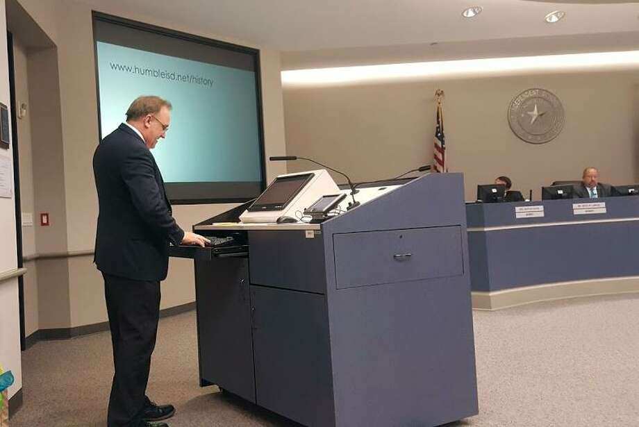 In anticipation of Humble ISD's centennial, Rob Meaux, student information systems coordinator for Humble ISD unveiled the first phase of the Humble ISD history website during the school board meeting on April 10. Photo: Melanie Feuk / Melanie Feuk