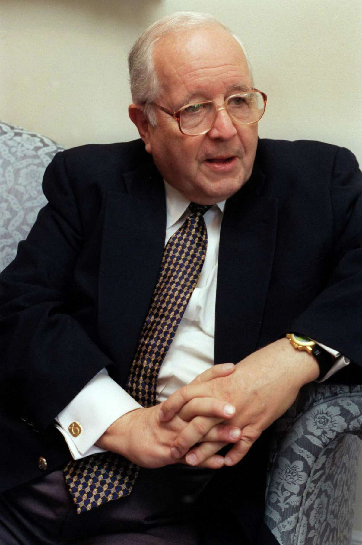 Judge Paul Pressler was one of the key leaders of the conservative resurgence within the Southern Baptist Convention. He has written a new book describing his experiences during the convention upheaval. He is seated during an interview at his home and also with his wife, Nancy and son Paul Jr. on 6/18/99. (Betty Tichich/Chronicle) HOUCHRON CAPTION (07/10/1999): Retired state appellate Judge Paul Pressler describes details of his new book, ``A Hill on Which to Die.''