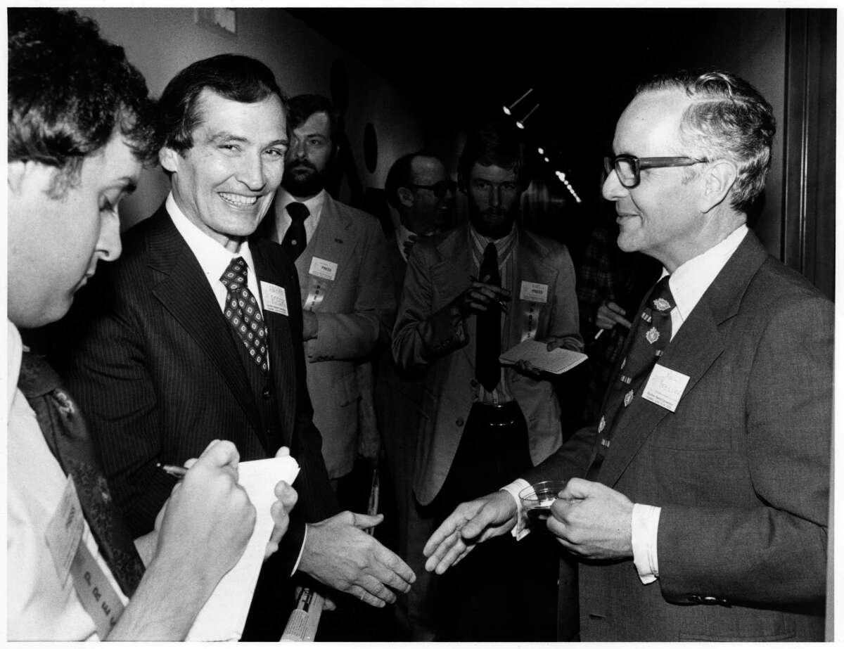 Paul Pressler, right, is shown with Adrian Rogers in 1979 after Rogers was elected president of the Southern Baptist Convention at its annual meeting in Houston.