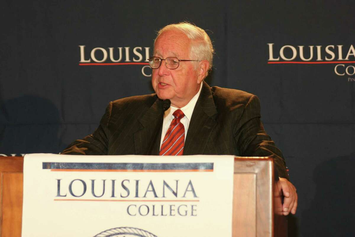 Then-Judge Paul Pressler addresses the audience at Louisiana College in Pineville, La. on Aug. 16, 2007.