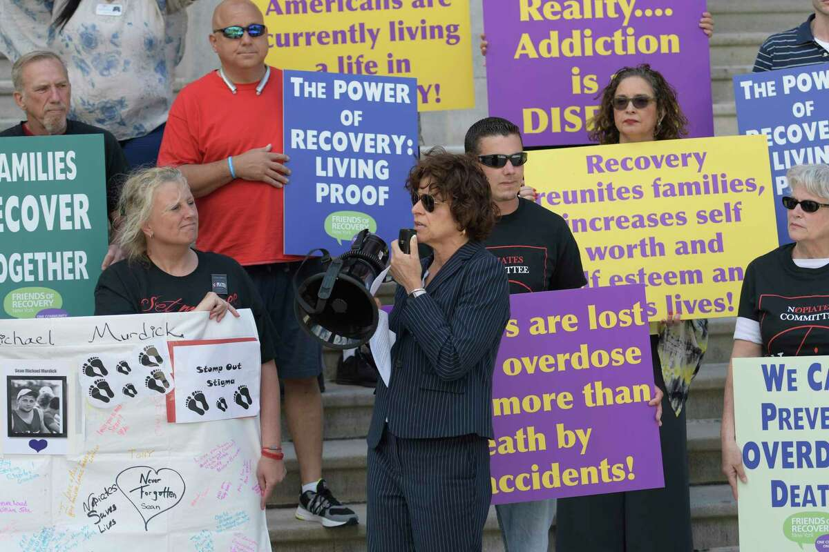 Stephanie Campbell, executive director of the Friends of recovery speaks at a demonstration bringing light to the serious disease of drug addiction Tuesday June 20, 2017 at the State Capitol in Albany, N.Y. (Skip Dickstein/Times Union)