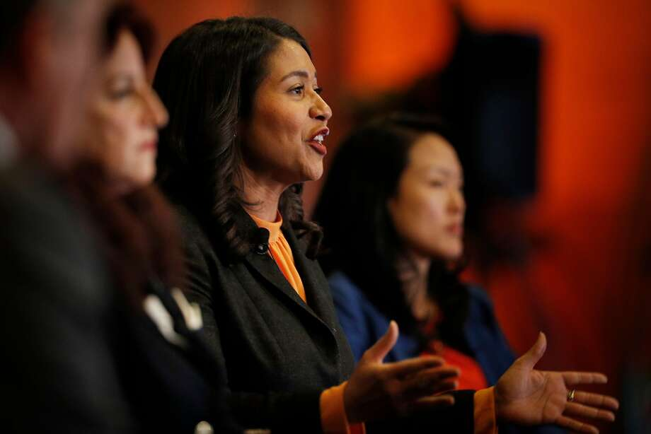 Supervisor London Breed at a debate with fellow mayoral candidates Angela Alioto, left, and Jane Kim. Photo: Carlos Avila Gonzalez / The Chronicle